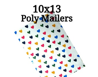 25 Multi Color Floating Hearts Poly Mailers/Designed Poly Mailers/Size:10x13/Packing Supplies/Mailing Supplies/Peel & Seal
