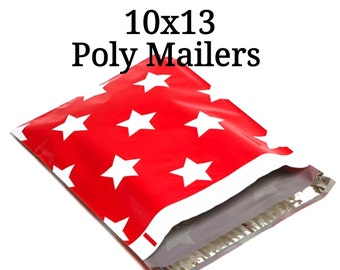 25 White Stars/Red Poly Mailers/Designer Poly Mailers/Size:10x13/Packing Supplies/Mailing Supplies/Peel & Seal