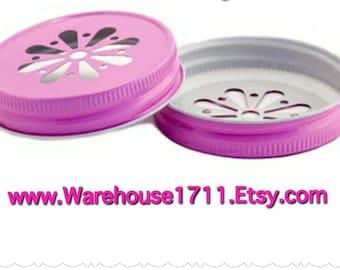 Mason Jar Lids ~ 10 ~ Daisy Lids ~ (Pink)/Party Jar Lids/Wedding Jar Lids/Anniversary Jar Lids