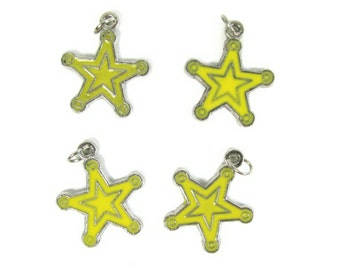 Yellow Cowboy Star Charms ~  Western Star Charms  | Jewelry Charms | Bracelet Charms | Necklace Charms