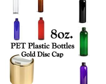 8oz Cosmo Slim Plastic Bottles ~ GOLD DISC CAP ~ Lotion Bottles/Shampoo Bottles/Conditioner Bottles ~ Bottle Color Your Choice