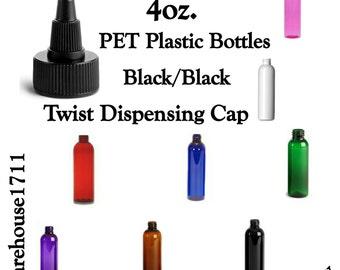 4oz Cosmo Slim Plastic Lotion Bottles ~ BLACK/BLACK Twist Dispensing Cap ~ Soap Bottles/Shampoo Bottles/Conditioner Bottles