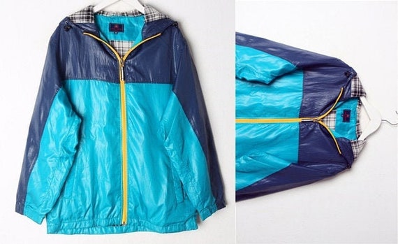 Vintage Blue Windbreaker Jacket, Thick Lined Rainc