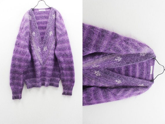 Embroidered Purple Vintage Sweater, Oversized V Ne