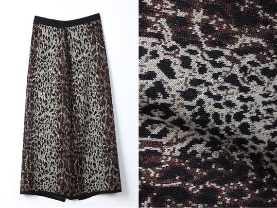 Leopard Wool Vintage Skirt, Animal Print Maxi Skir