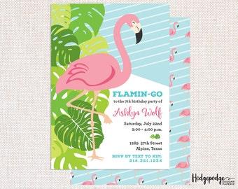Pink Flamingo Birthday PRINTABLE Invitation