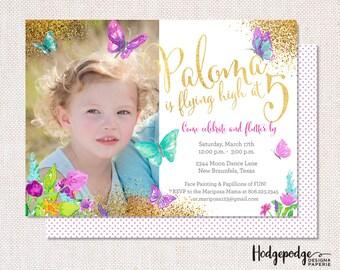 Butterfly Glitter Birthday PRINTABLE Invitation