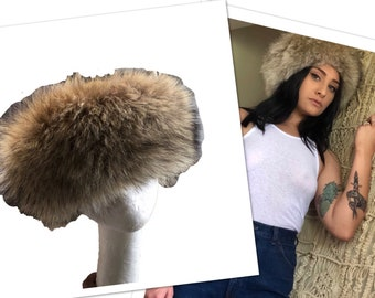 Vtg Faux Fur Hat Russian Style Womens Mens Vintage cap fur all the way  around insulated festival sale fad tab camel mixed color ski soft cd003cbab341