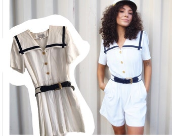 0386bf3ddb1f Vtg Sailor Romper Jumpsuit Playsuit white Navy gold buttons lapel trim  collared womens vintage shorts Petite Sophisticate Sz 8 costume sale