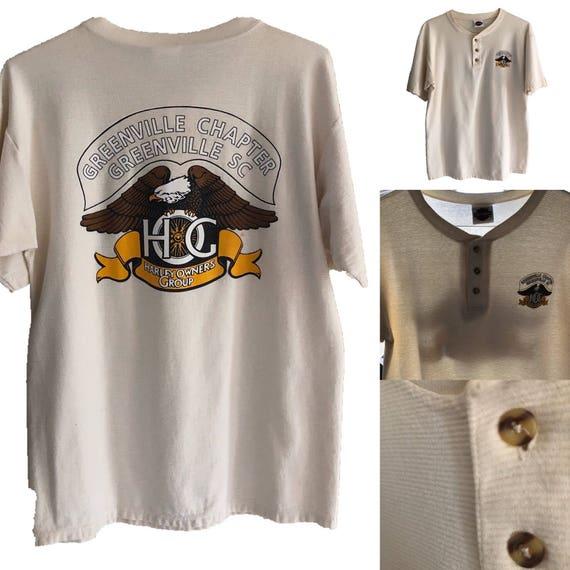 0cfd40932 Vtg Harley Davidson Eagle Henley Shirt thermal texture cotton