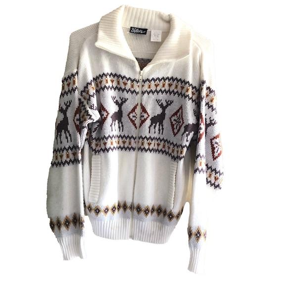 Vtg Orlon Sweater by Olympic Womens Vintage Ski Large Burgundy navy Light blue snowflake style banded ringer knit soft light weight winter