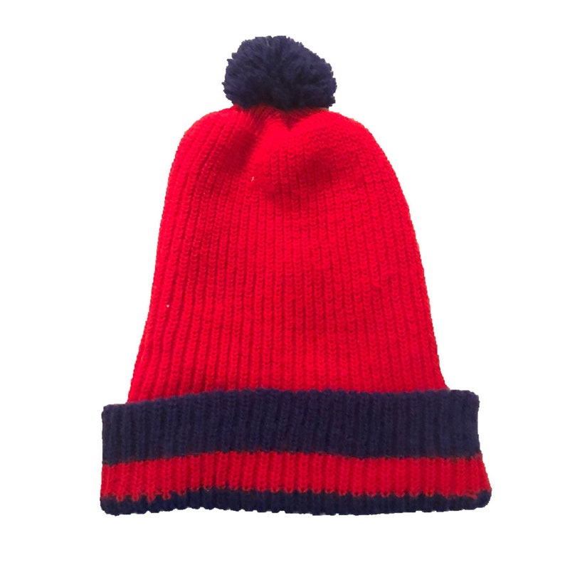 3c055180040e60 Vtg Red Blue Knit Beanie Hat Pom Pom womens mens vintage one   Etsy