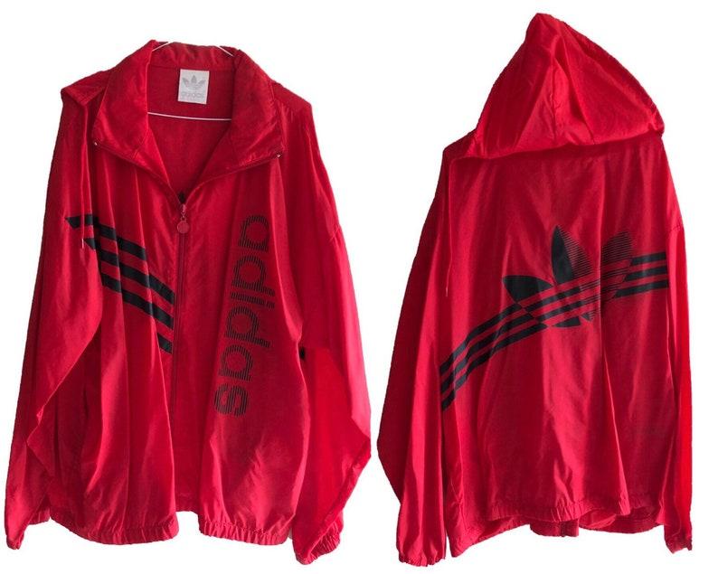 VTG rot Adidas Windbreaker Jacke Herren Damen übergroße XL Sport Hoodie Kapuze Kragen Reißverschluss bis Verkauf Longsleeve Verkauf Festival Regen