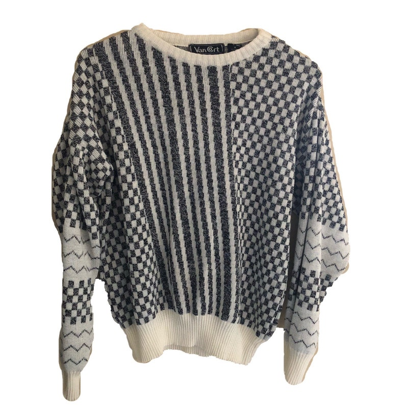 Vtg Van Cort Checkered Sweater grey white Womens vintage medium acrylic soft pullover thin knit cropped banded sale festival winter light