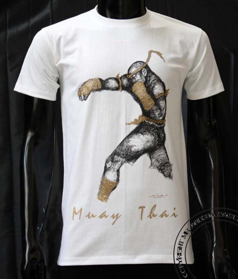 T-shirt  Muay Thai Gray-Black Color Cotton S-XXL Size.