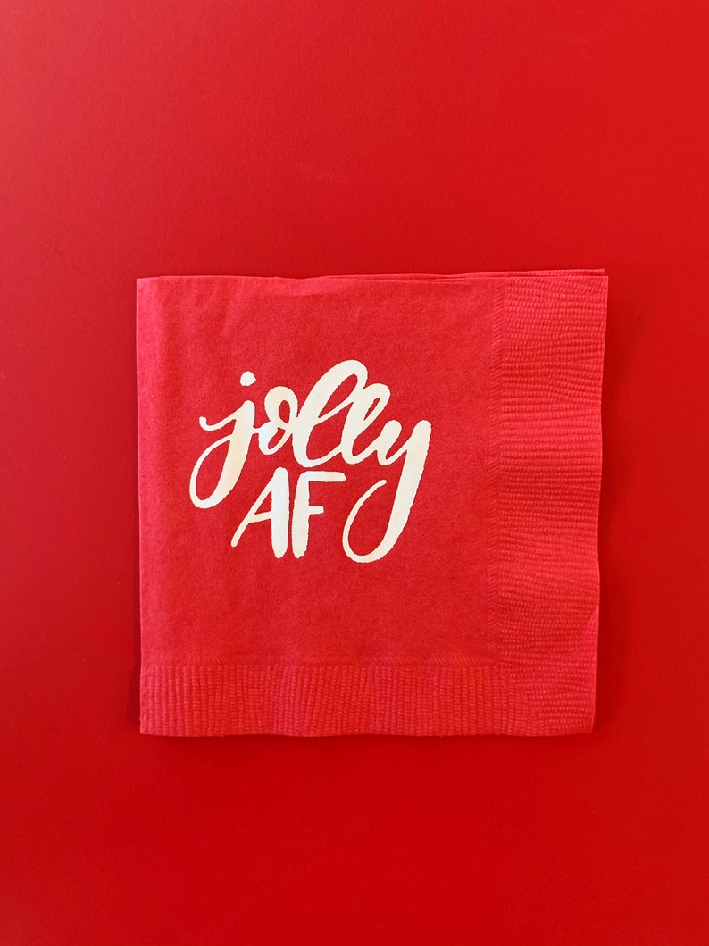 Jolly Af Cocktail Napkin Funny Christmas Napkins Christmas Etsy