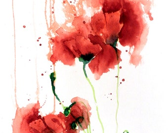 Red Poppies - 11x15 Original Watercolor Painting