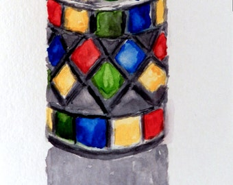 Original 6x9 Watercolor Painting - Stained Glass Candleholder