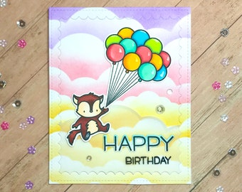 Rainbow Cloud Balloon Birthday Card | Handmade