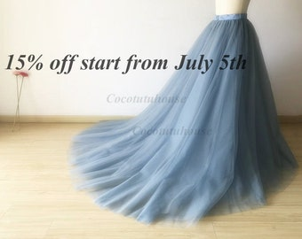 573b9bc570 5 Layers Dusty Blue Tulle Skirt With A Long Train/Floor Length/Adult Women Tulle  Long Skirt/Wedding Dress/Bridesmaid/Valentine's Day /Prom