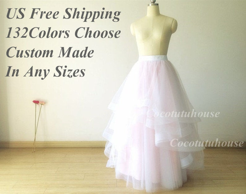 ec1b6254189ad Double Horse Hair Trims Ombre color White/ Light Pink Hi Low Maxi 6 layers  Tulle Skirt/Wedding Underskirt/Bridesmaid/Bachelorette TuTu Prom