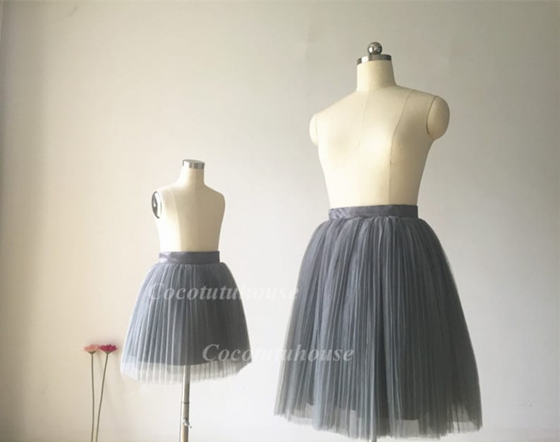 a4c6eb5c4 Mommy and Me Tutu Skirt Set in Dark Gray Pleated Tulle/ Mother | Etsy