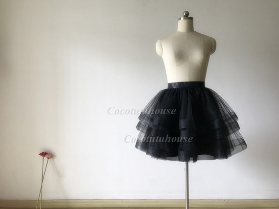 Black Cupcake Tulle Skirttiered Horse Hair Tulle Skirtwomen Etsy