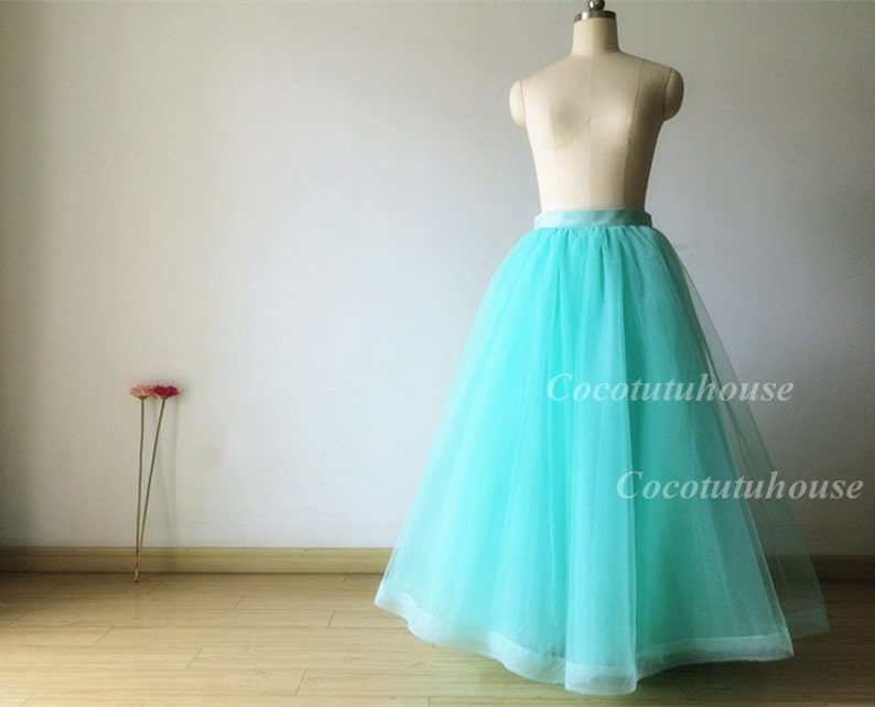 a77b7f128a Mint Green Tulle Skirt /Adult Women Horsehair Tulle Skirt Long | Etsy