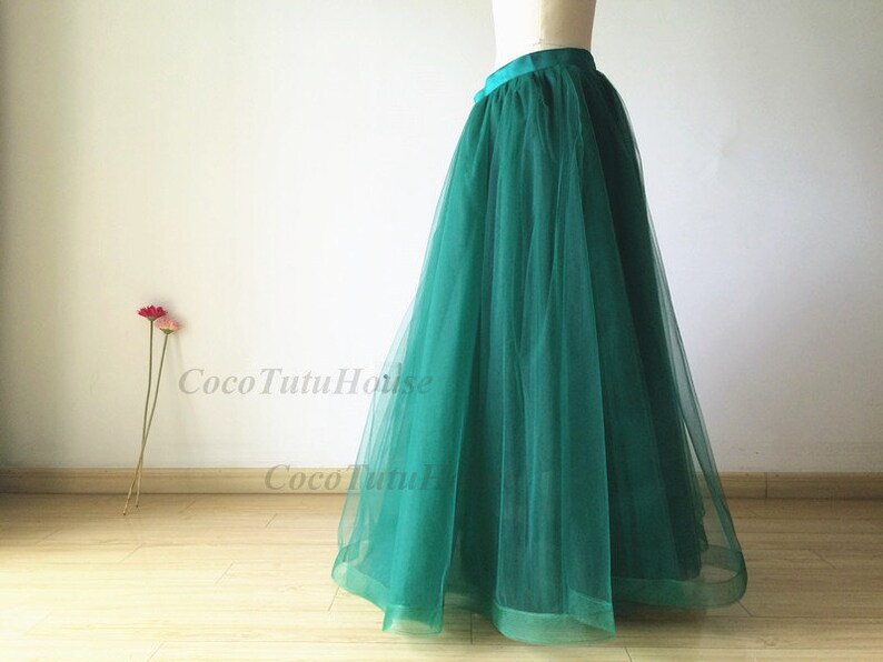5ca6653600 Emerald Green Maxi Tulle Skirt /Adult Women Horsehair Tulle | Etsy