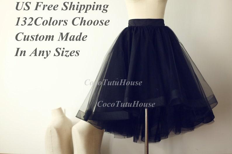 On Sale Black Hi Low Tulle Skirt /Adult Women Horsehair Tulle image 0