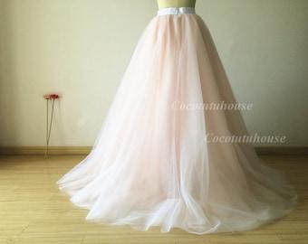 Ombre color white/blush pink Tulle Skirt/Floor Length Tulle /Adult Women Tulle/Long Skirt/Wedding Dress/Bridesmaid/Valentine's Day/Promskirt
