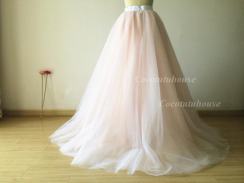 df900b17e4b84c Ombre kleur wit roze blos Tulle rok vloer lengte Tulle  Adult