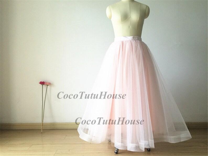 Blush Pink Maxi Tulle Skirt Adult Women Horsehair Tulle Skirt Long SkirtWedding Dress UnderskirtBridesmaidBachelorette TuTu