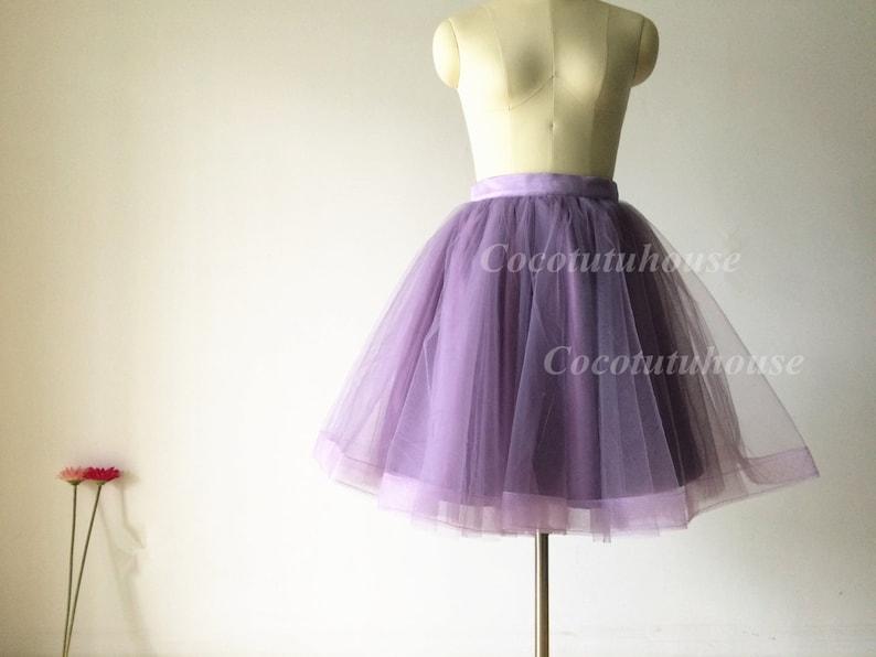 ddc380ecef6361 Tulle violet poussiéreux jupe/cheval cheveux femmes jupe Tulle jupe/Short  TUTU jupe/mariage robe jupon/jupon en Tulle