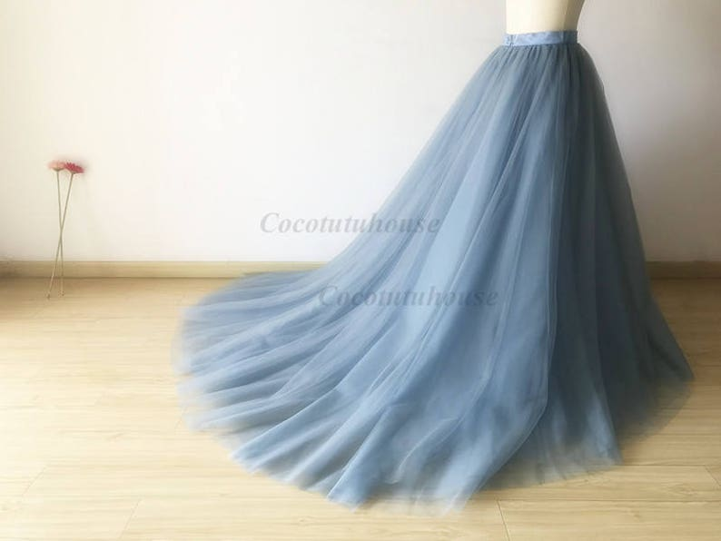 Blue Tulle Wedding Dress with Long Train
