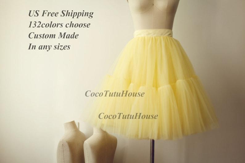 fc660abdc690c8 Jupe en jupon en jupon jaune clair pour robe de mariée/Bridesmaid Short  Yellow Tulle Skirt/Bachelorette TuTu