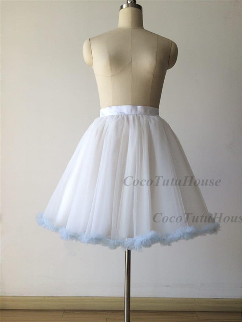 ce03dbc1f3719c Bleu clair volante garniture jupe jupon jupon en Tulle blanc pour mariage  robe/demoiselle d'honneur courte Blush rose Tulle jupe/Bachelorette TuTu