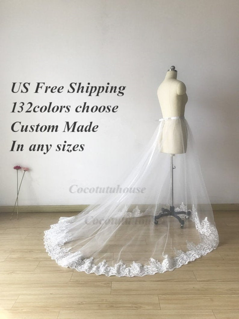 d9bb66132e French Lace Trim White Tulle Overskirt/Overlap/Floor Length Overlap /Adult  Women/Wedding Dress/Bridesmaid/Long Overskirt/Prom