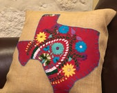 Burgundy Mexican dress Texas with blue trim on 18 quot x 18 quot burlap pillow cover - ready to ship