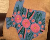 Sky blue Mexican dress Texas with pink trim on 18 quot x 18 quot burlap pillow cover - ready to ship