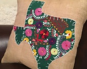 Green Mexican dress Texas with white trim 18 quot x 18 quot bulap pillow cover - ready to ship