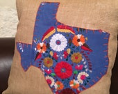 Cornflower Mexican dress Texas with orange trim on 18 quot x 18 quot on burlap pillow cover - ready to ship