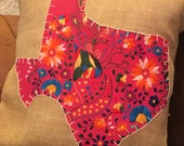Hot Pink Mexican Dress Texas 18 quot x18 quot Burlap Pillow Cover - ready to ship