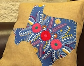 CornFlower blue with yellow Mexican dress Texas on burlap pillow cover 18 quot x18 quot - ready to ship