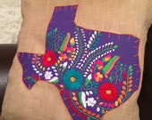 Purple Mexican dress with orange trim on 18 quot x 18 quot burlap pillow cover - ready to ship