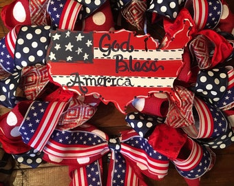 "USA patriotic 4th of July Red White and Blue 26"" Ribbon Wreath"