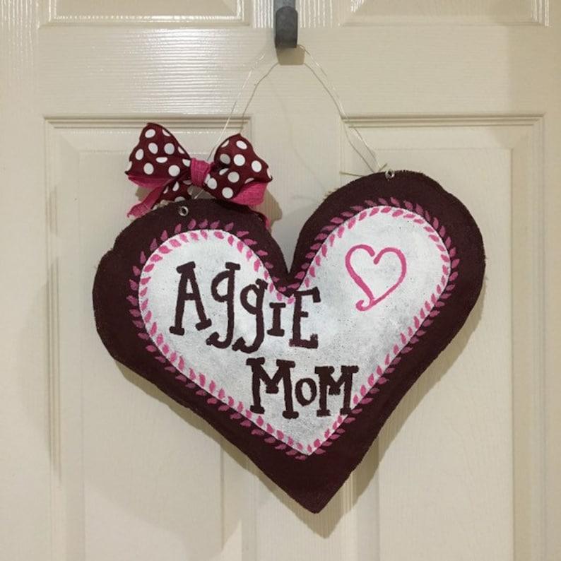 Burlap Heart Door Hangers READY to SHIP Cowboys Aggie Mom Sweet Summertime