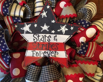 """26"""" Red White and Blue Patriotic 4th of July Wreath with 12"""" Star that is Handpainted"""