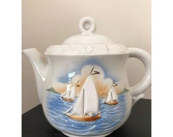 Vintage Porcelier Sailboat Pourover Drip Coffee Maker