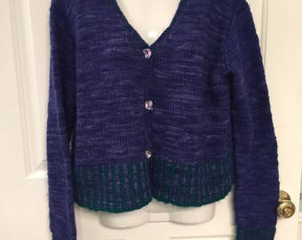 Handmade wool cardigan sweater M